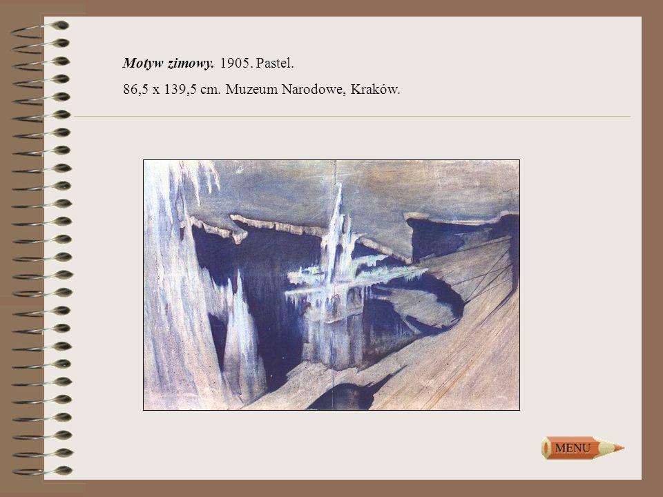 Motyw zimowy. 1905. Pastel. 86,5 x 139,5 cm. Muzeum Narodowe, Kraków.