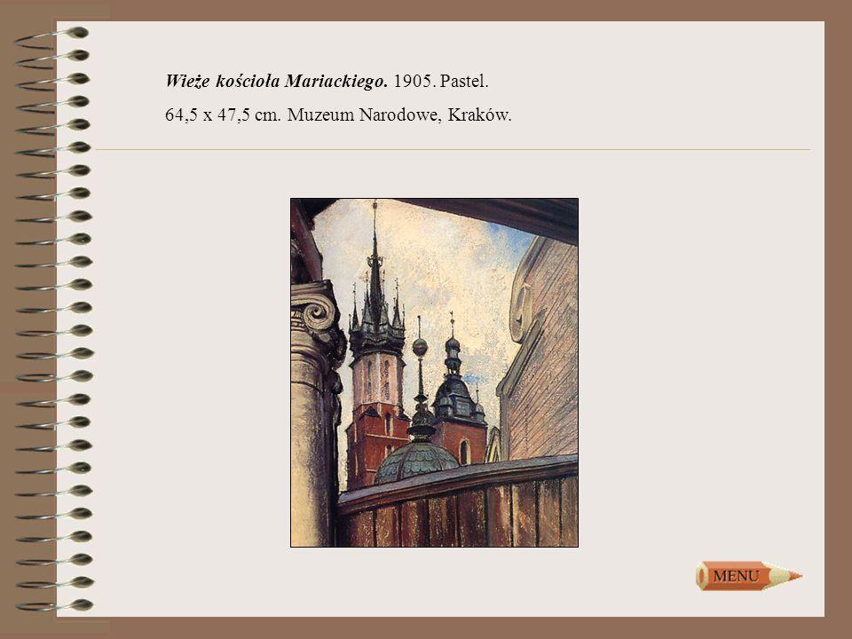 Wieże kościoła Mariackiego. 1905. Pastel. 64,5 x 47,5 cm. Muzeum Narodowe, Kraków.