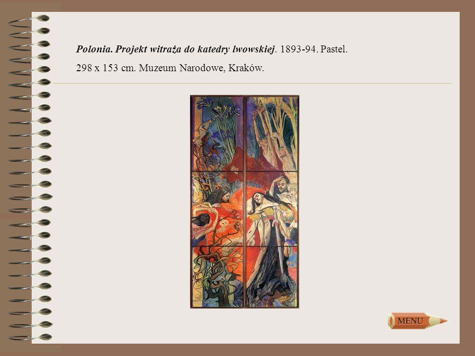 Polonia. Projekt witraża do katedry lwowskiej. 1893-94. Pastel. 298 x 153 cm. Muzeum Narodowe, Kraków.