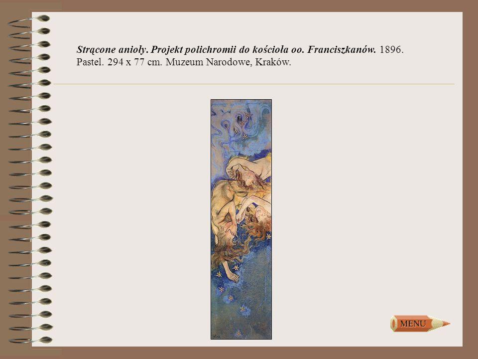 Strącone anioły. Projekt polichromii do kościoła oo. Franciszkanów. 1896. Pastel. 294 x 77 cm. Muzeum Narodowe, Kraków.