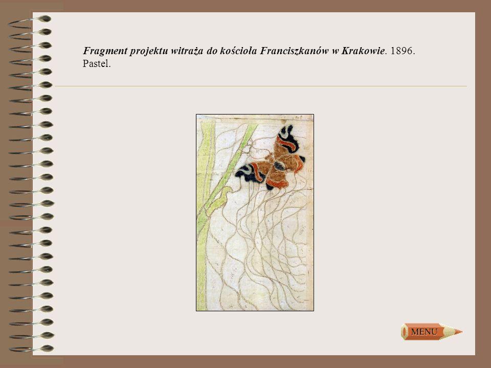 Fragment projektu witraża do kościoła Franciszkanów w Krakowie. 1896. Pastel.