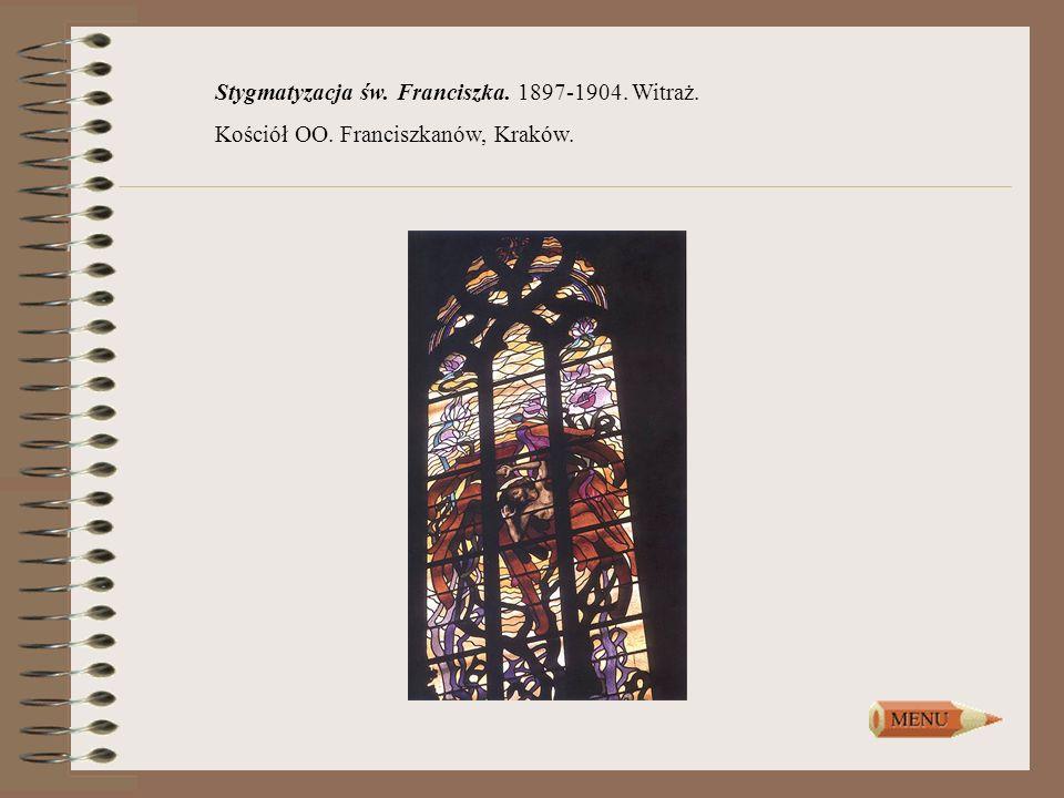 Stygmatyzacja św. Franciszka. 1897-1904. Witraż. Kościół OO. Franciszkanów, Kraków.