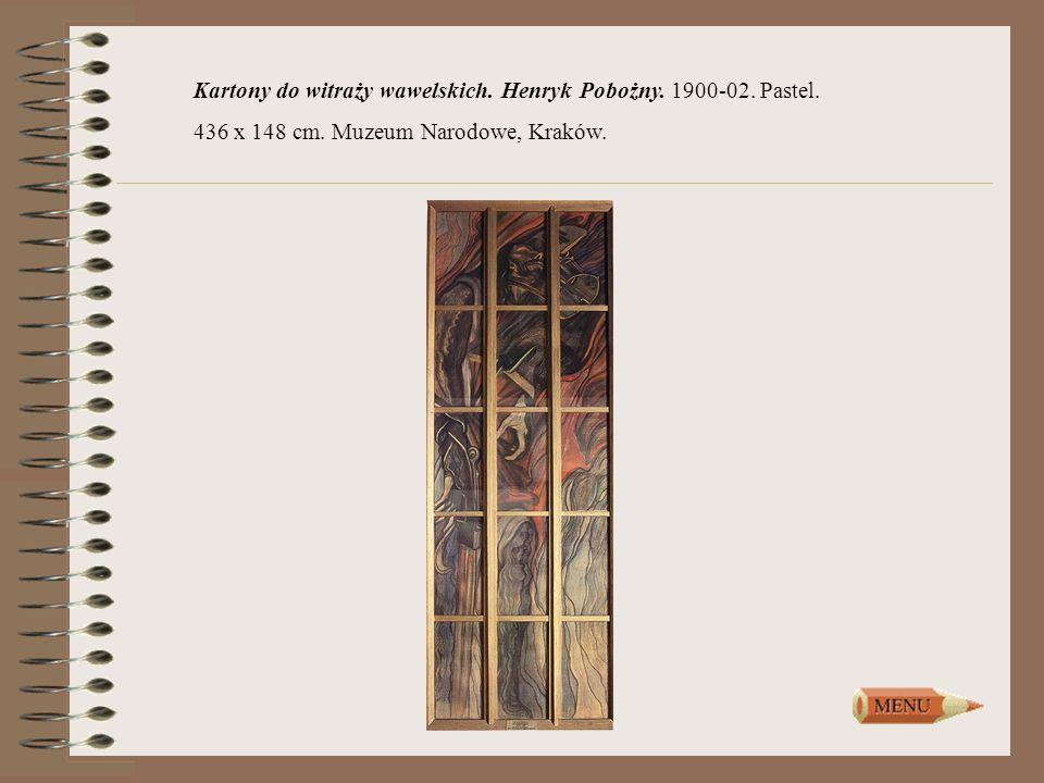 Kartony do witraży wawelskich. Henryk Pobożny. 1900-02. Pastel. 436 x 148 cm. Muzeum Narodowe, Kraków.
