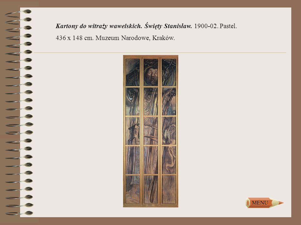 Kartony do witraży wawelskich. Święty Stanisław. 1900-02. Pastel. 436 x 148 cm. Muzeum Narodowe, Kraków.