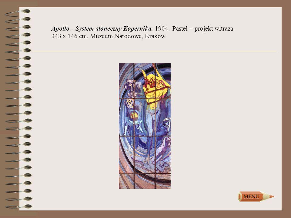 Apollo – System słoneczny Kopernika. 1904. Pastel – projekt witraża. 343 x 146 cm. Muzeum Narodowe, Kraków.