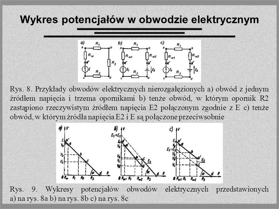 Wykres potencjałów w obwodzie elektrycznym Rys. 8. Przykłady obwodów elektrycznych nierozgałęzionych a) obwód z jednym źródłem napięcia i trzema oporn