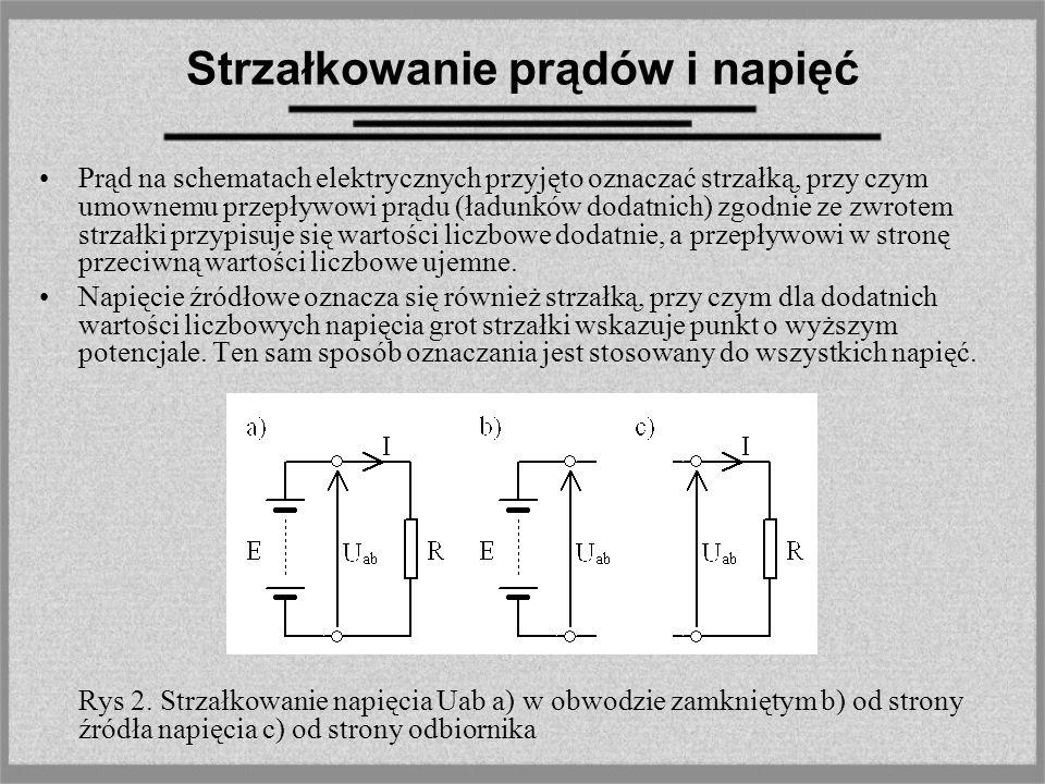Strzałkowanie prądów i napięć Prąd na schematach elektrycznych przyjęto oznaczać strzałką, przy czym umownemu przepływowi prądu (ładunków dodatnich) z