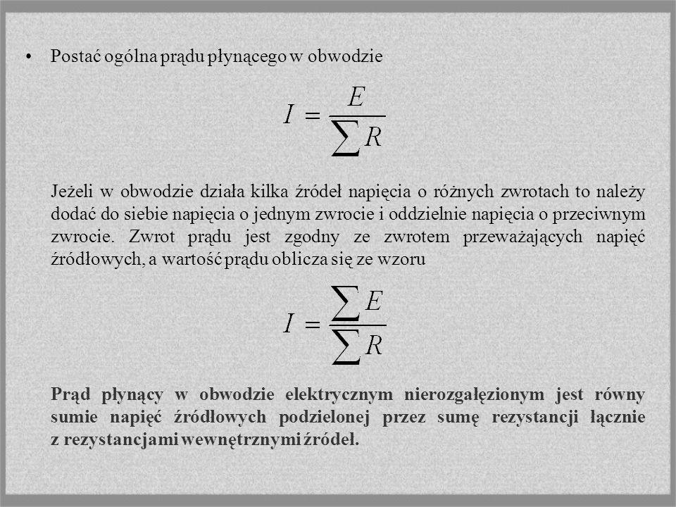 Stan jałowy i stan zwarcia źródła napięcia Na zaciskach rzeczywistego źródła napięcia o parametrach E, Rw napięcie Rys.
