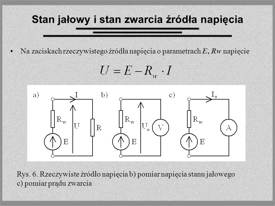 Stan jałowy i stan zwarcia źródła napięcia Na zaciskach rzeczywistego źródła napięcia o parametrach E, Rw napięcie Rys. 6. Rzeczywiste źródło napięcia