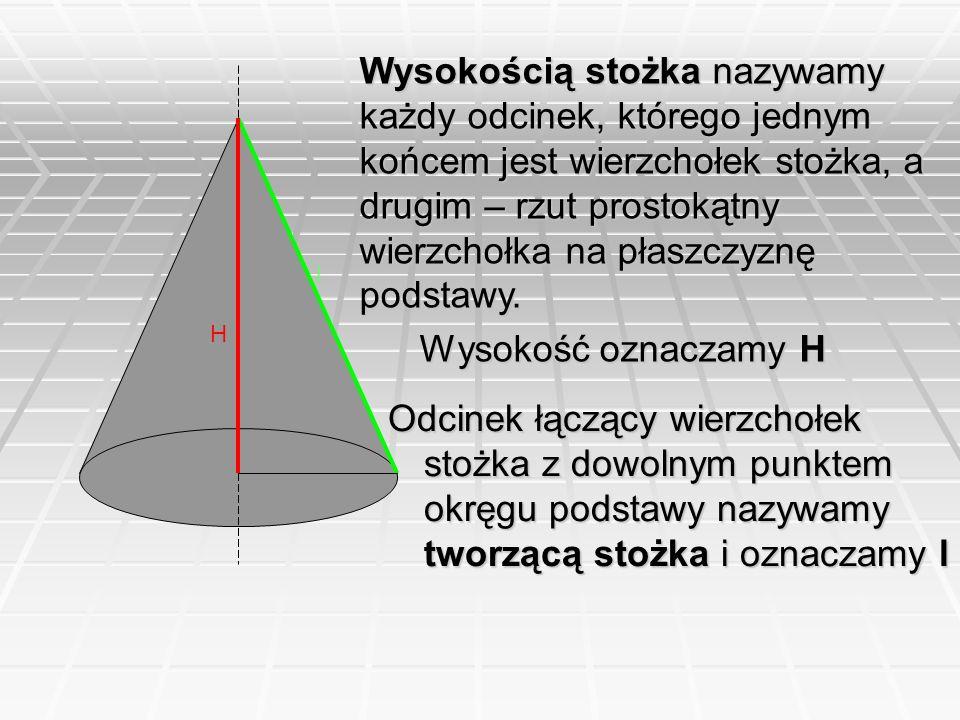 Wysokością stożka nazywamy każdy odcinek, którego jednym końcem jest wierzchołek stożka, a drugim – rzut prostokątny wierzchołka na płaszczyznę podsta
