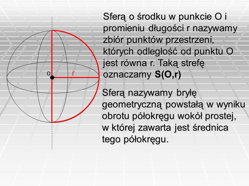 or Sferą o środku w punkcie O i promieniu długości r nazywamy zbiór punktów przestrzeni, których odległość od punktu O jest równa r. Taką strefę oznac