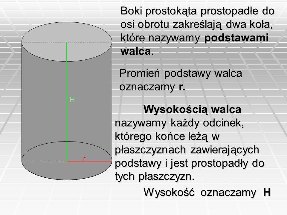 Boki prostokąta prostopadłe do osi obrotu zakreślają dwa koła, które nazywamy podstawami walca. H r Wysokością walca nazywamy każdy odcinek, którego k