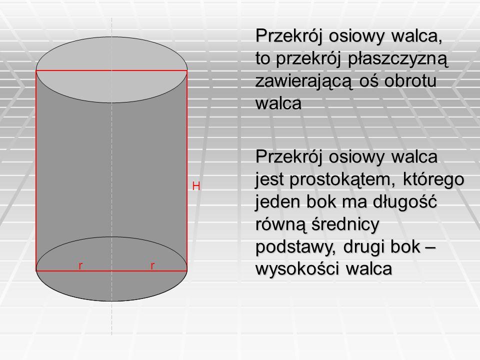 Przekrój osiowy walca, to przekrój płaszczyzną zawierającą oś obrotu walca Przekrój osiowy walca jest prostokątem, którego jeden bok ma długość równą