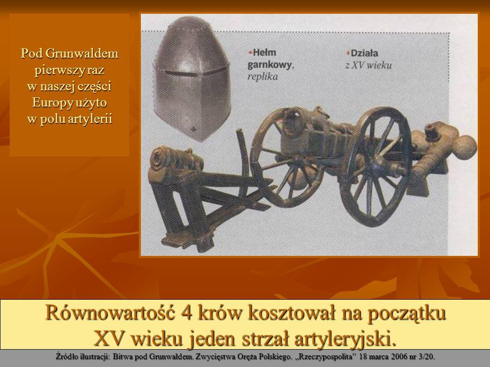 Pod Grunwaldem pierwszy raz w naszej części Europy użyto w polu artylerii Źródło ilustracji: Bitwa pod Grunwaldem. Zwycięstwa Oręża Polskiego. Rzeczyp