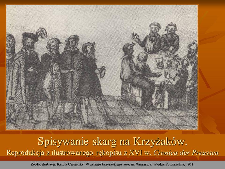 Spisywanie skarg na Krzyżaków. Reprodukcja z ilustrowanego rękopisu z XVI w. Cronica der Preussen Źródło ilustracji: Karola Ciesielska: W zasięgu krzy