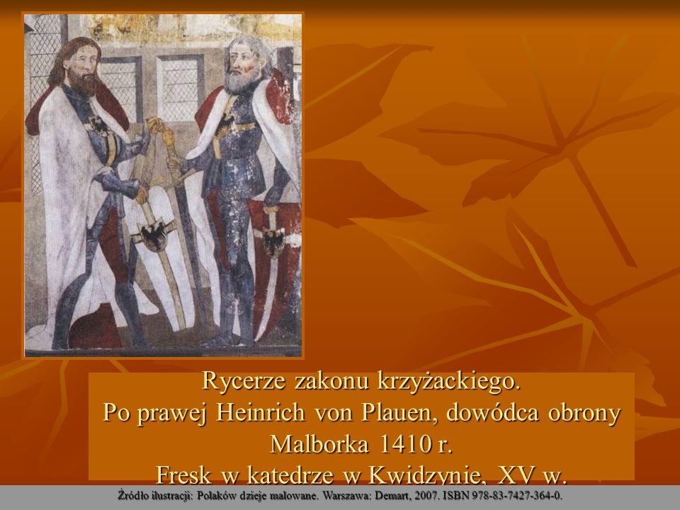 Rycerze zakonu krzyżackiego. Po prawej Heinrich von Plauen, dowódca obrony Malborka 1410 r. Fresk w katedrze w Kwidzynie, XV w. Źródło ilustracji: Pol