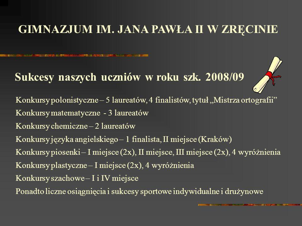 GIMNAZJUM IM.JANA PAWŁA II W ZRĘCINIE Sukcesy naszych uczniów w roku szk.