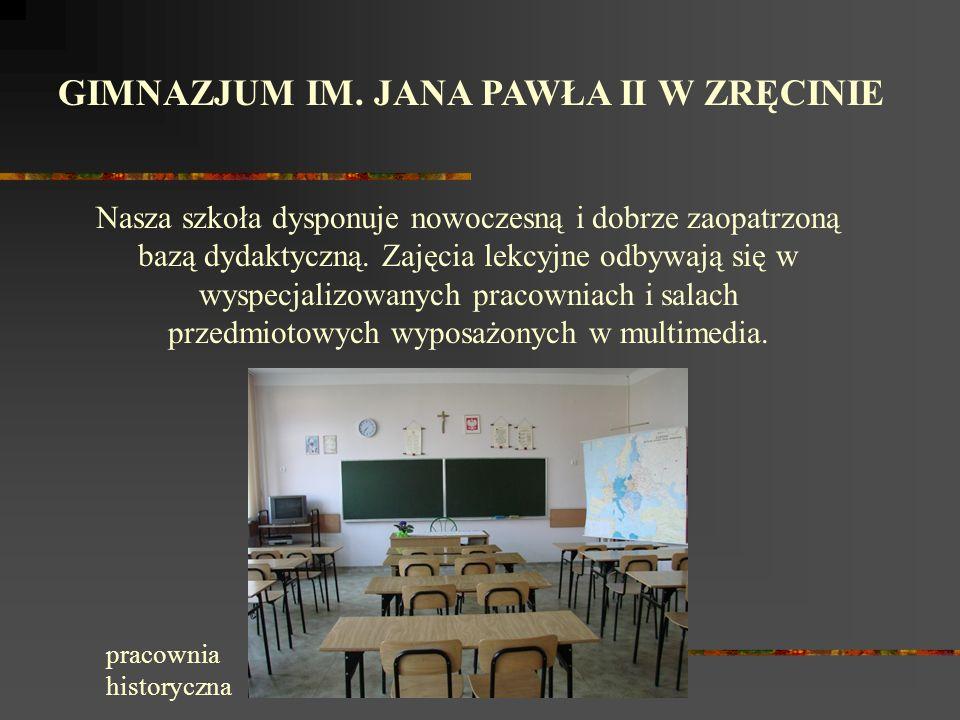 GIMNAZJUM IM. JANA PAWŁA II W ZRĘCINIE Sukcesy naszych uczniów w roku szk.