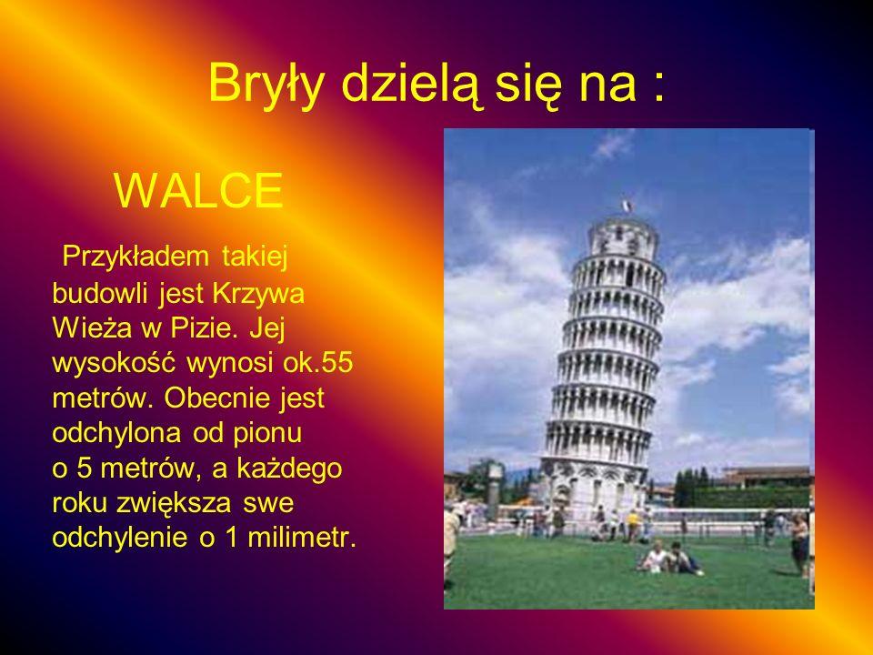 Bryły dzielą się na : WALCE Przykładem takiej budowli jest Krzywa Wieża w Pizie. Jej wysokość wynosi ok.55 metrów. Obecnie jest odchylona od pionu o 5