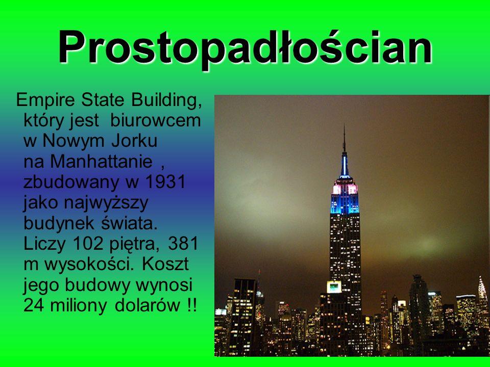Prostopadłościan Empire State Building, który jest biurowcem w Nowym Jorku na Manhattanie, zbudowany w 1931 jako najwyższy budynek świata. Liczy 102 p