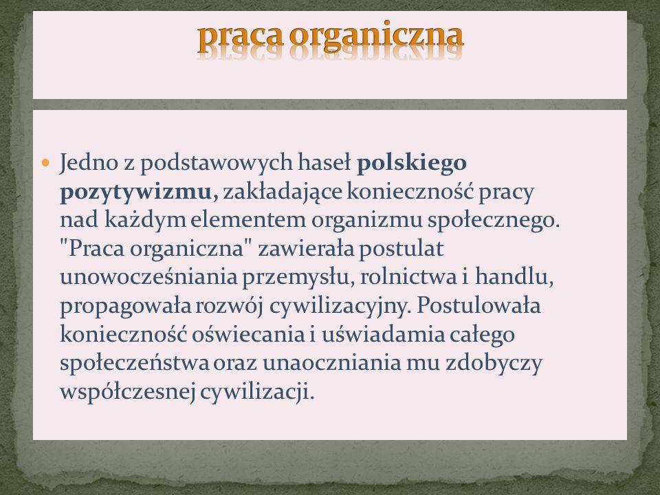 Praca natury oświatowej nad podniesieniem poziomu życia przede wszystkim chłopów, a także walki z germanizacją i rusyfikacją w okresie zaborów Polski.