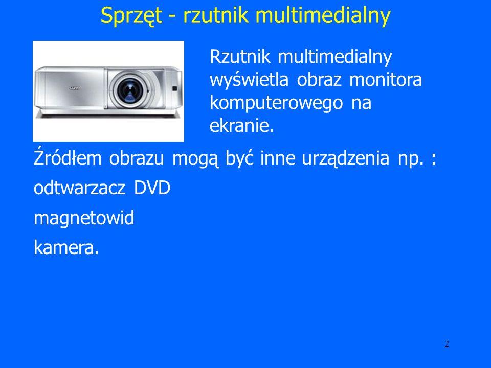 3 Sprzęt - rzutnik multimedialny Rozdzielczość to ilość poszczególnych punktów (pikseli), z których składa się obraz.