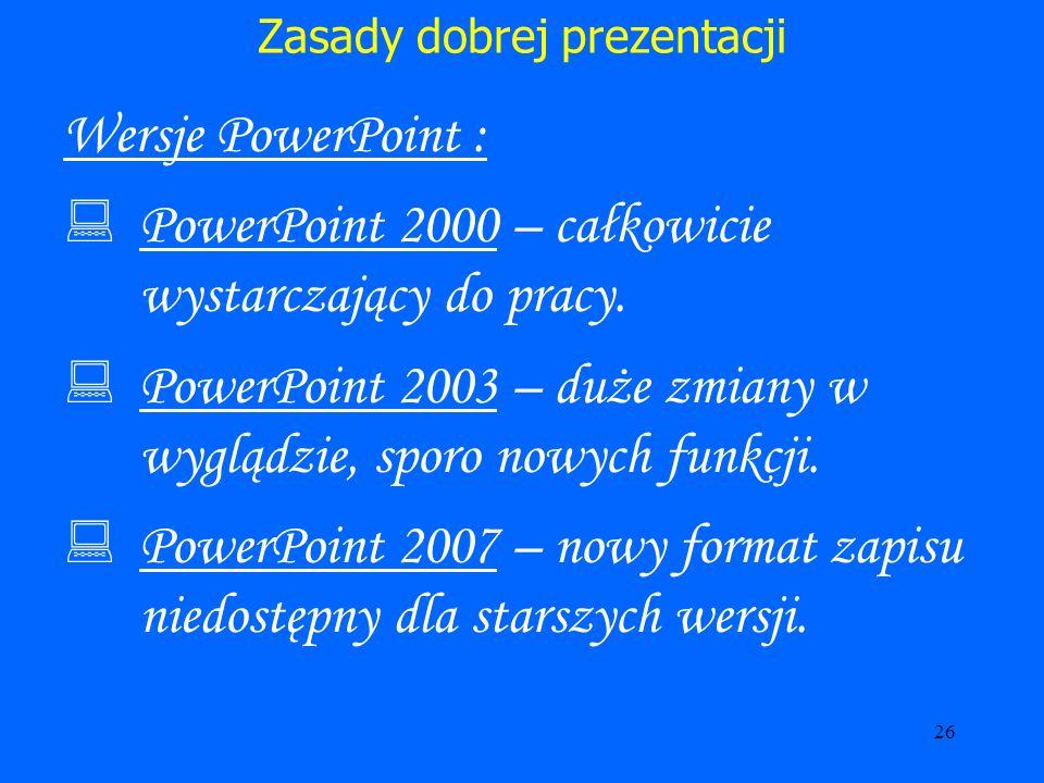 27 Zasady dobrej prezentacji Zadbaj o to aby prezentacja prawidłowo wyświetlała się.