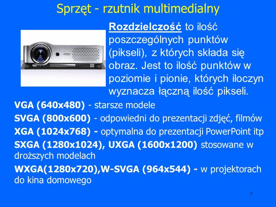 4 Sprzęt - rzutnik multimedialny Jasność - inaczej nazywana siłą światła.