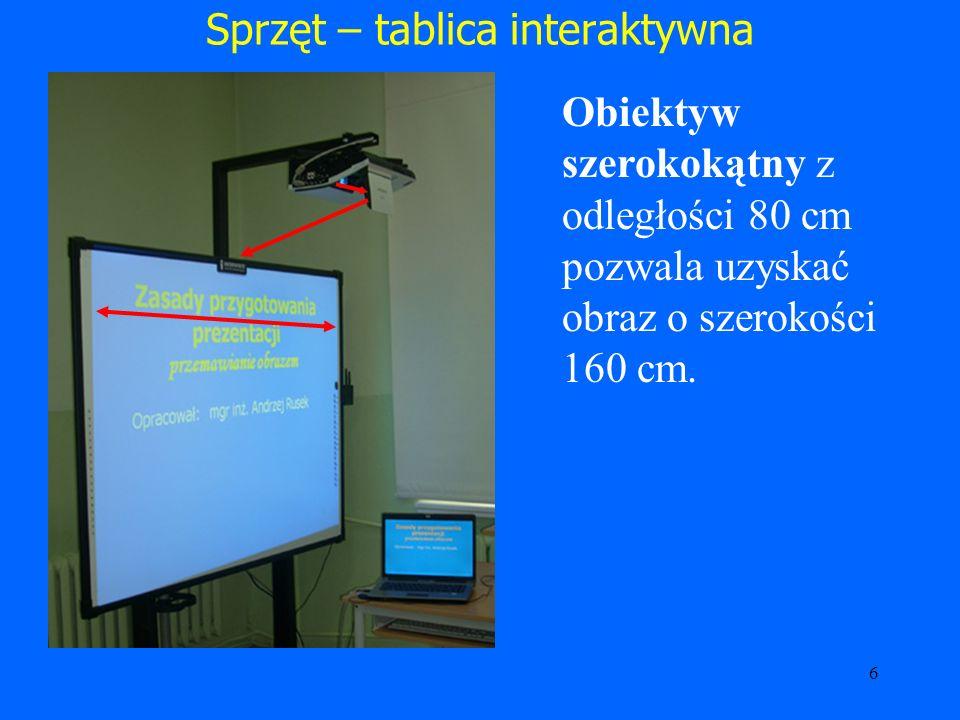 7 Sprzęt - ekran Umożliwia : Wyświetlanie obrazu bez zmian kolorów (dużo lepiej niż na ścianie).