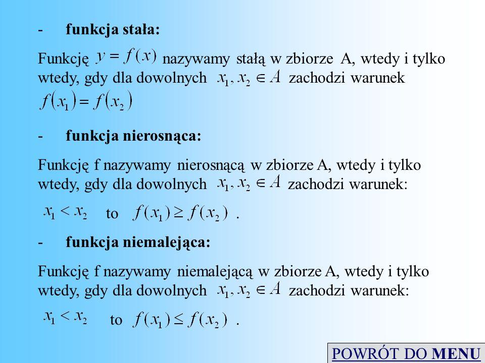 -funkcja stała: Funkcjęnazywamy stałą w zbiorze A, wtedy i tylko wtedy, gdy dla dowolnych zachodzi warunek -funkcja nierosnąca: Funkcję f nazywamy nie