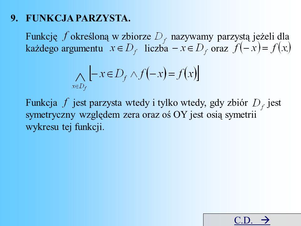9.FUNKCJA PARZYSTA. Funkcję określoną w zbiorze nazywamy parzystą jeżeli dla każdego argumentu liczba oraz. Funkcja jest parzysta wtedy i tylko wtedy,