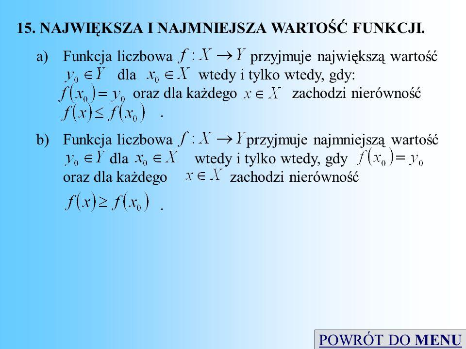 15. NAJWIĘKSZA I NAJMNIEJSZA WARTOŚĆ FUNKCJI. a)Funkcja liczbowa przyjmuje największą wartość dla wtedy i tylko wtedy, gdy: oraz dla każdego zachodzi