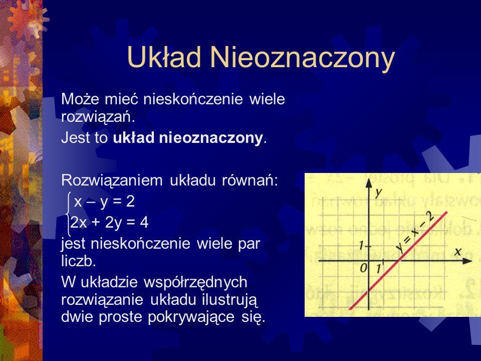 Układ Oznaczony Układ równań liniowych może mieć jedno rozwiązanie. Jest to układ oznaczony. Rozwiązaniem układu równań: y + x = 2 y - x = 3 jest para