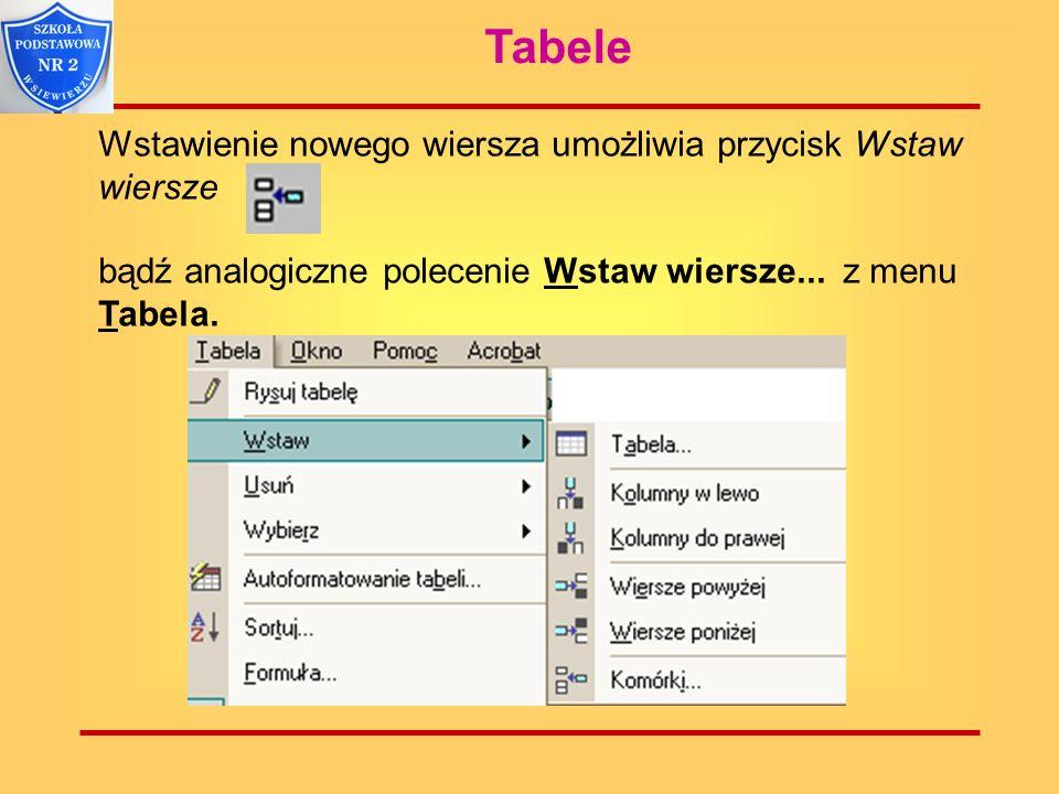Tabele Wstawienie nowego wiersza umożliwia przycisk Wstaw wiersze bądź analogiczne polecenie Wstaw wiersze... z menu Tabela.