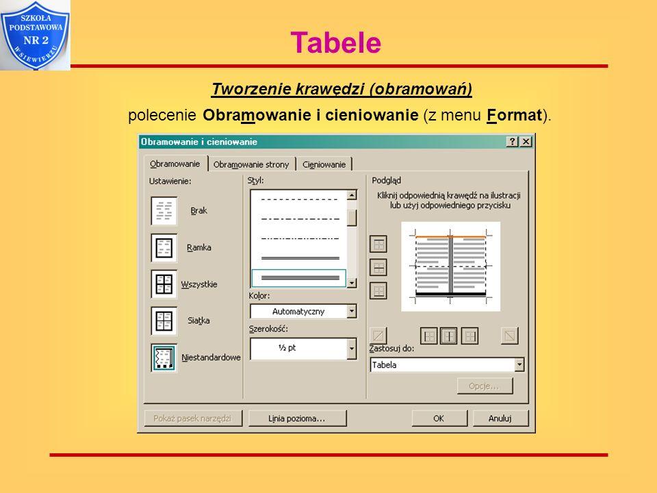 Tworzenie krawędzi (obramowań) polecenie Obramowanie i cieniowanie (z menu Format).