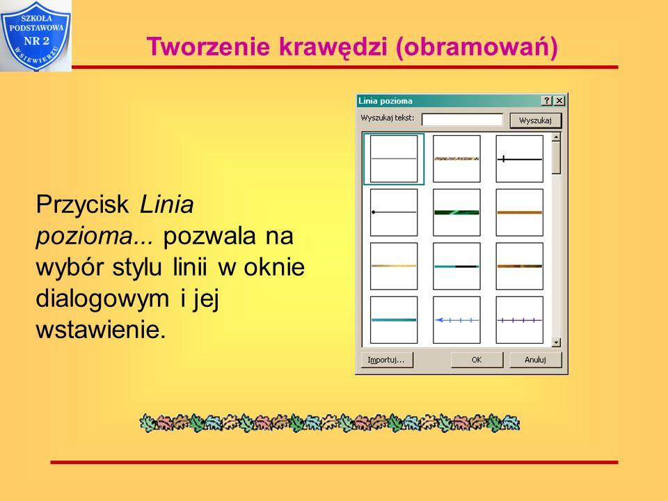 Tworzenie krawędzi (obramowań) Przycisk Linia pozioma... pozwala na wybór stylu linii w oknie dialogowym i jej wstawienie.
