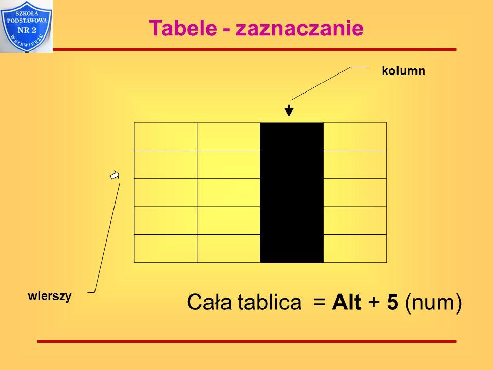 Tabele - zaznaczanie kolumn wierszy Cała tablica = Alt + 5 (num)
