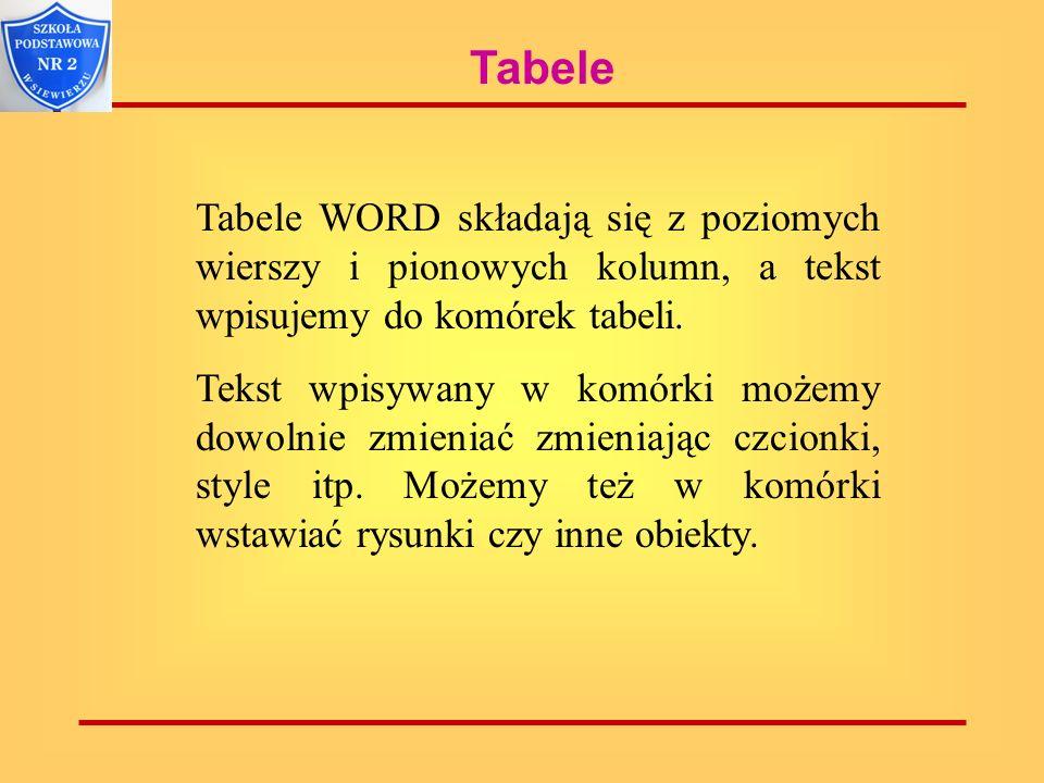 Tabele Tabele WORD składają się z poziomych wierszy i pionowych kolumn, a tekst wpisujemy do komórek tabeli. Tekst wpisywany w komórki możemy dowolnie