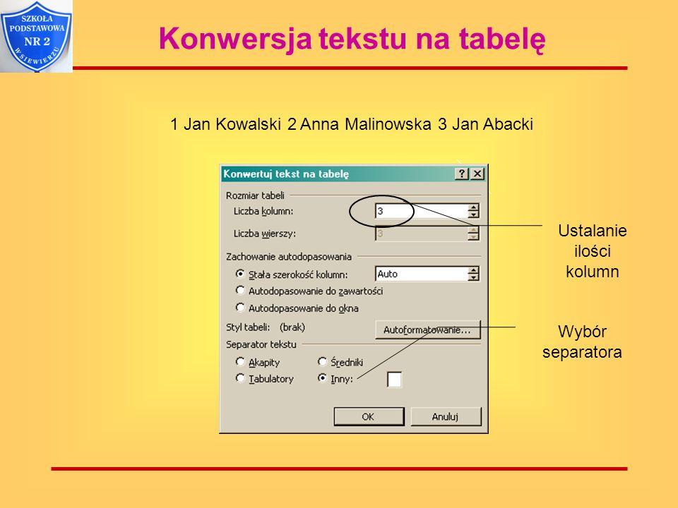Konwersja tekstu na tabelę 1 Jan Kowalski 2 Anna Malinowska 3 Jan Abacki Ustalanie ilości kolumn Wybór separatora