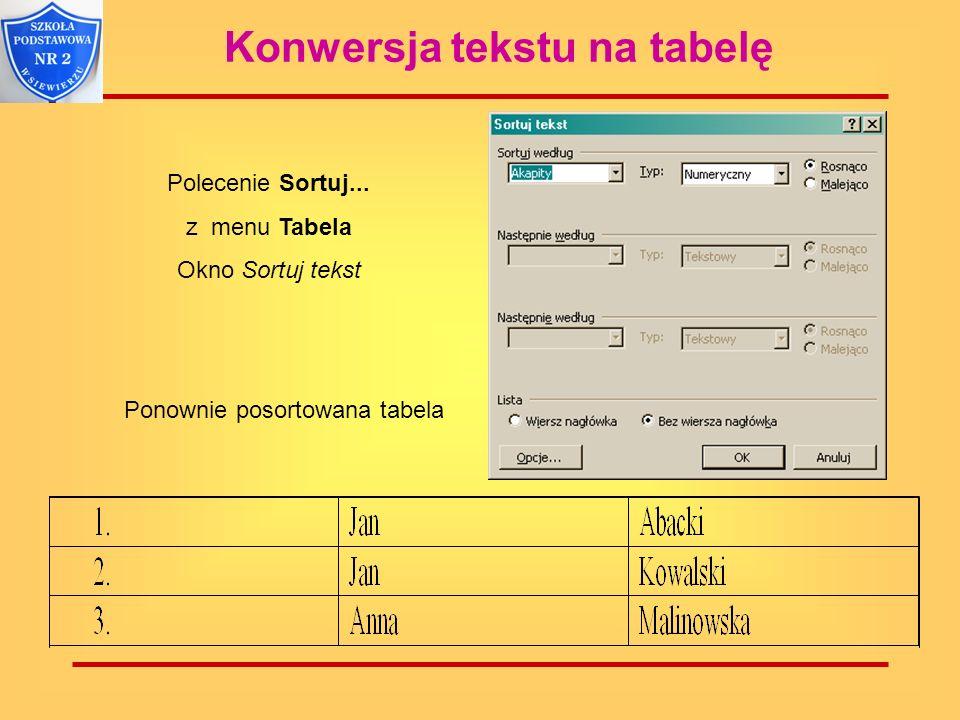 Konwersja tekstu na tabelę Ponownie posortowana tabela Polecenie Sortuj... z menu Tabela Okno Sortuj tekst