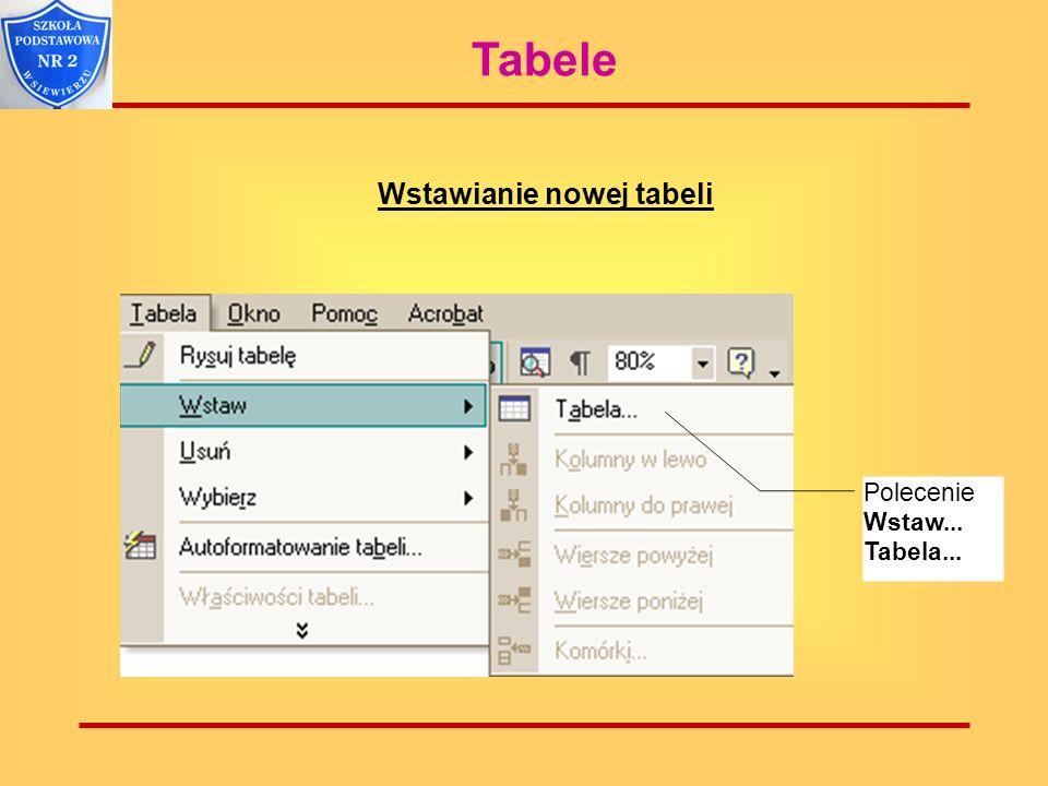 Tabele Okno wstawiania tabeli