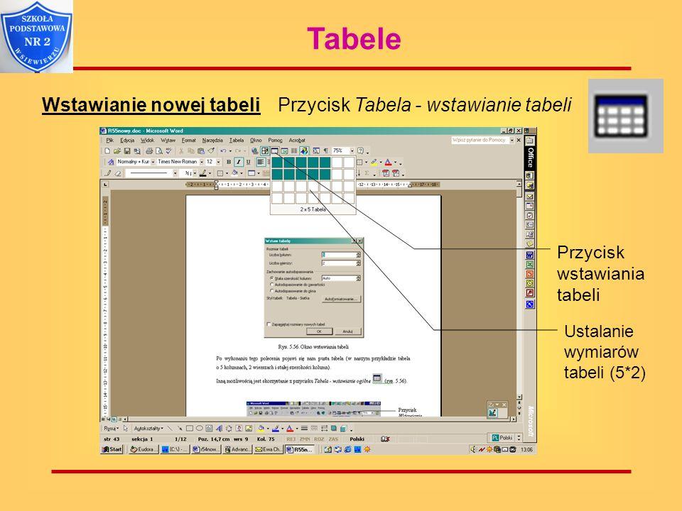 Tabele Wstawianie nowej tabeliPrzycisk Tabela - wstawianie tabeli Przycisk wstawiania tabeli Ustalanie wymiarów tabeli (5*2)