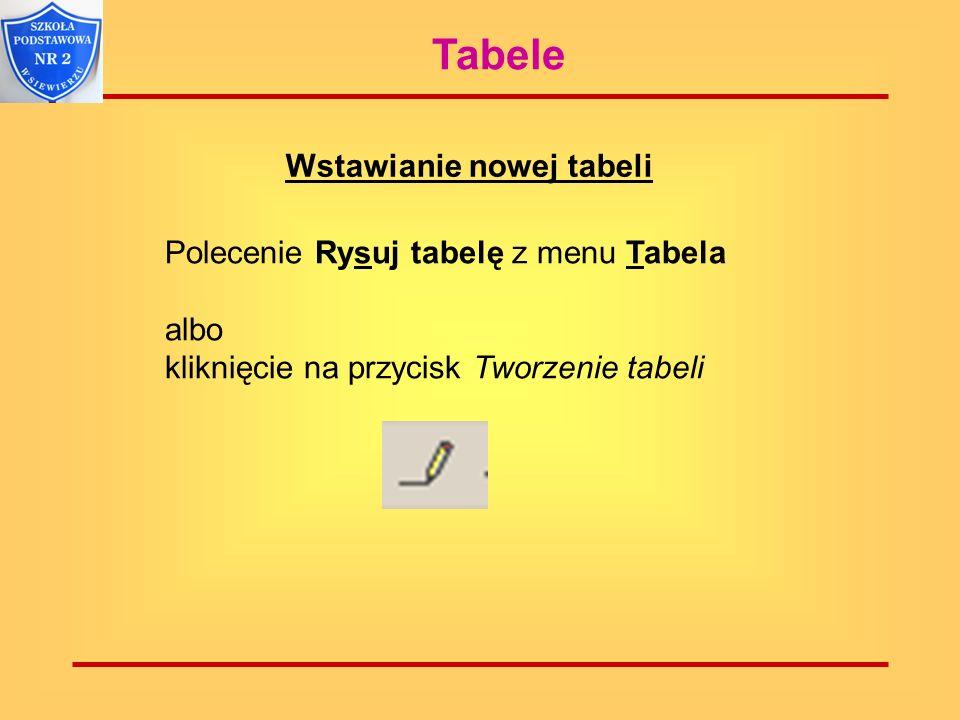 Tabele Wstawianie nowej tabeli Polecenie Rysuj tabelę z menu Tabela albo kliknięcie na przycisk Tworzenie tabeli