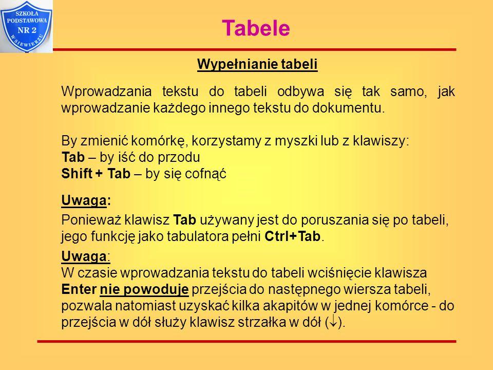 Tabele Wypełnianie tabeli. Wprowadzania tekstu do tabeli odbywa się tak samo, jak wprowadzanie każdego innego tekstu do dokumentu. By zmienić komórkę,