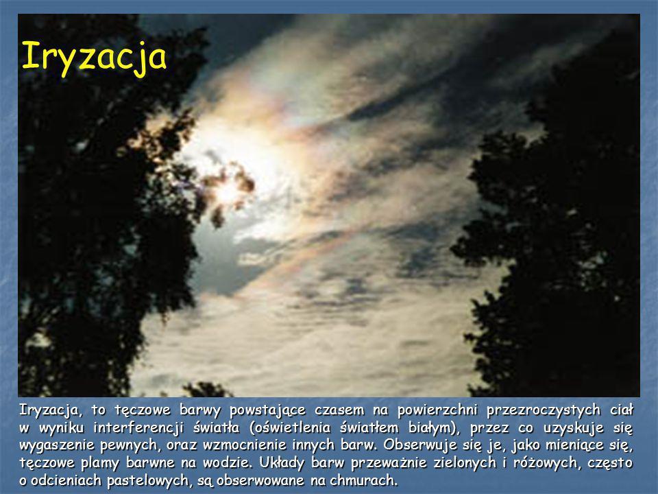 Iryzacja Iryzacja, to tęczowe barwy powstające czasem na powierzchni przezroczystych ciał w wyniku interferencji światła (oświetlenia światłem białym)
