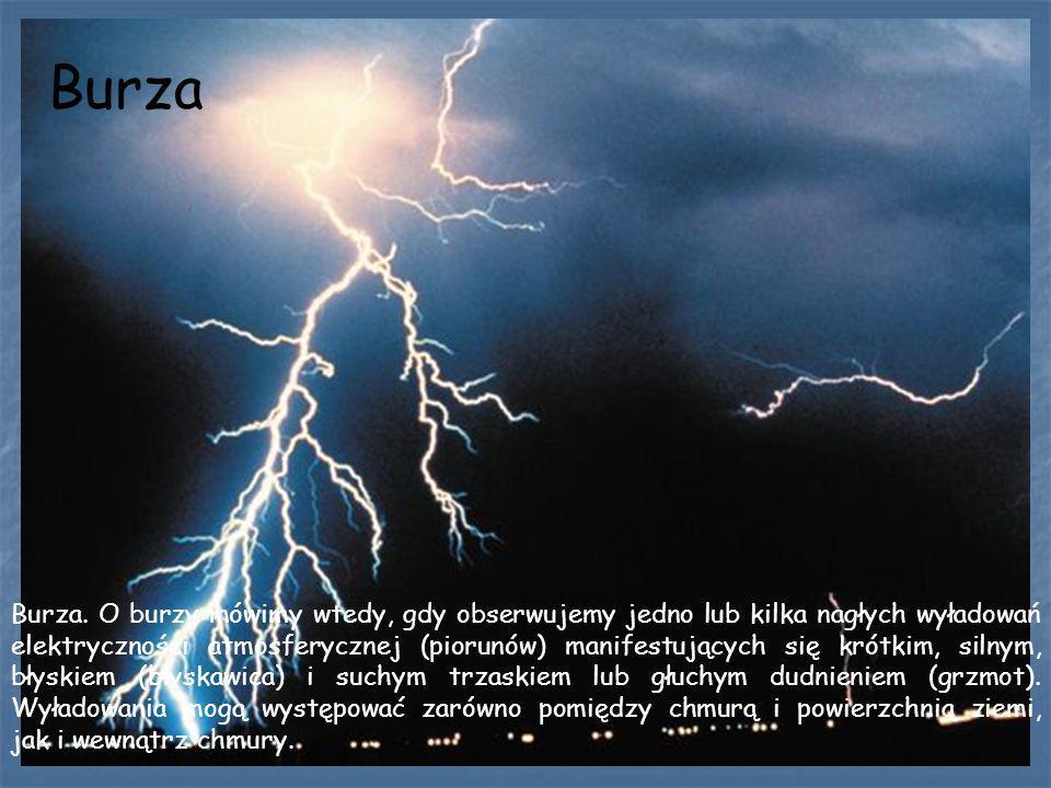 Burza Burza. O burzy mówimy wtedy, gdy obserwujemy jedno lub kilka nagłych wyładowań elektryczności atmosferycznej (piorunów) manifestujących się krót