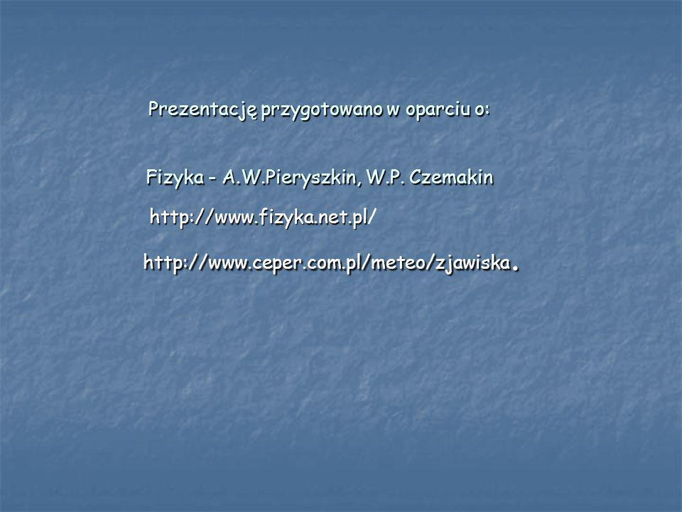 Prezentację przygotowano w oparciu o: Fizyka - A.W.Pieryszkin, W.P. Czemakin http://www.fizyka.net.pl http://www.fizyka.net.pl/ http://www.ceper.com.p