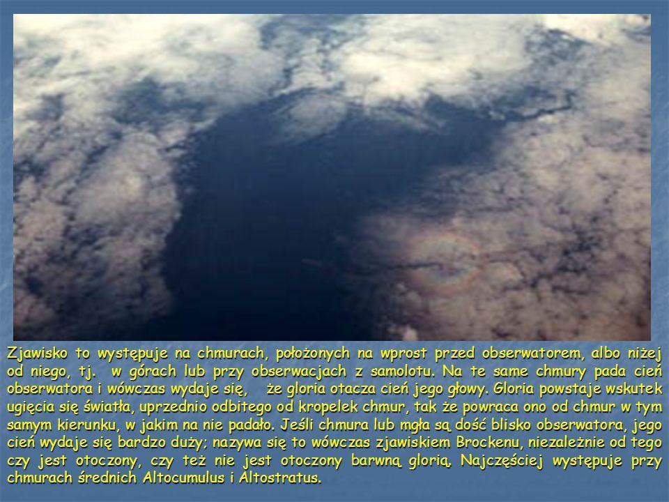 Zjawisko to występuje na chmurach, położonych na wprost przed obserwatorem, albo niżej od niego, tj. w górach lub przy obserwacjach z samolotu. Na te