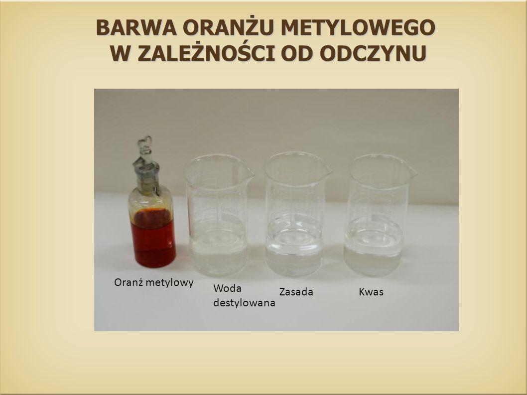 BARWA ORANŻU METYLOWEGO W ZALEŻNOŚCI OD ODCZYNU W ZALEŻNOŚCI OD ODCZYNU Kwas Zasada Woda destylowana Oranż metylowy