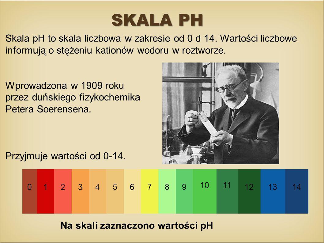 SKALA PH Na skali zaznaczono wartości pH Skala pH to skala liczbowa w zakresie od 0 d 14. Wartości liczbowe informują o stężeniu kationów wodoru w roz